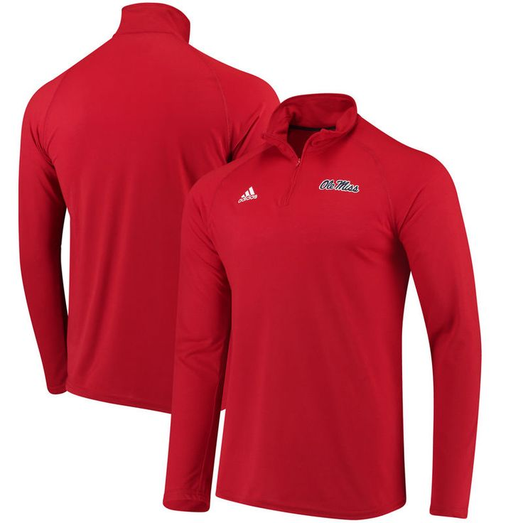 Ole Miss Rebels adidas Collegiate Ultimate Quarter-Zip Pullover climalite Jacket - Red