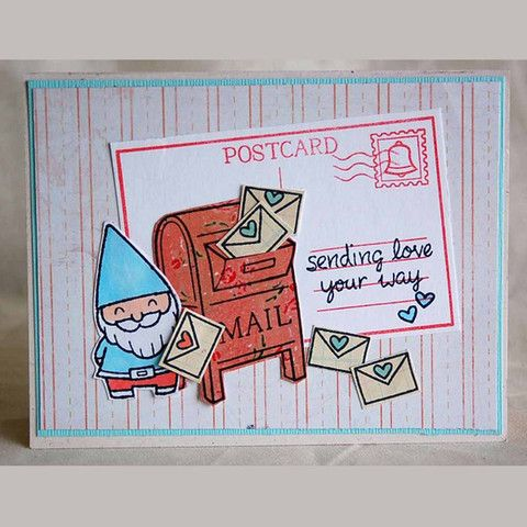 you've got mail- adorable gnome mailing a letter!