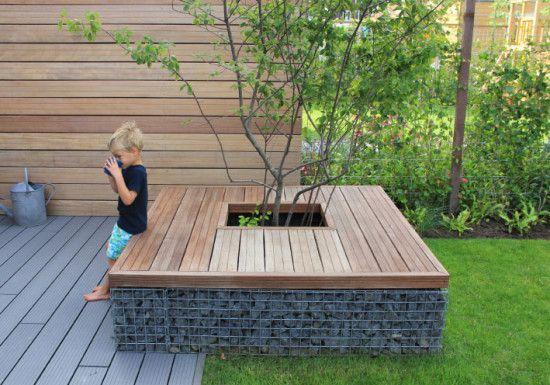 Boombank in strakke, moderne tuin