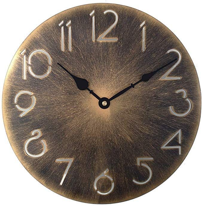 Retro Metal Industrial Wall Clocki œ12 Inch Round Classic Vintage Iron Wrought Wall Clock Digital Numerals Wall Clock Digital Industrial Clock Wall Wall Clock