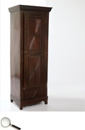 A Colonial rosewood sunburst cupboard or hall cabinet, with single shutter.     27 in L x 19 in B x 74 in H