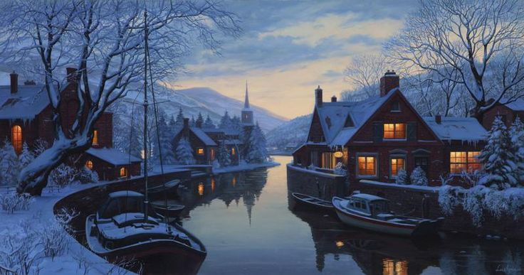An Old Inn by the River, Evgeny Lushpin art: Originals and Giclee Prints