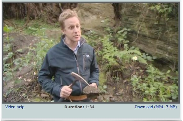 VIDEO CLIP - Dr Darren Gravley takes us into the field and describes the work of a geologist. Looking at a rocky outcrop. he describes what geologists are looking for and what the rocks can tell them about volcanic eruptions.