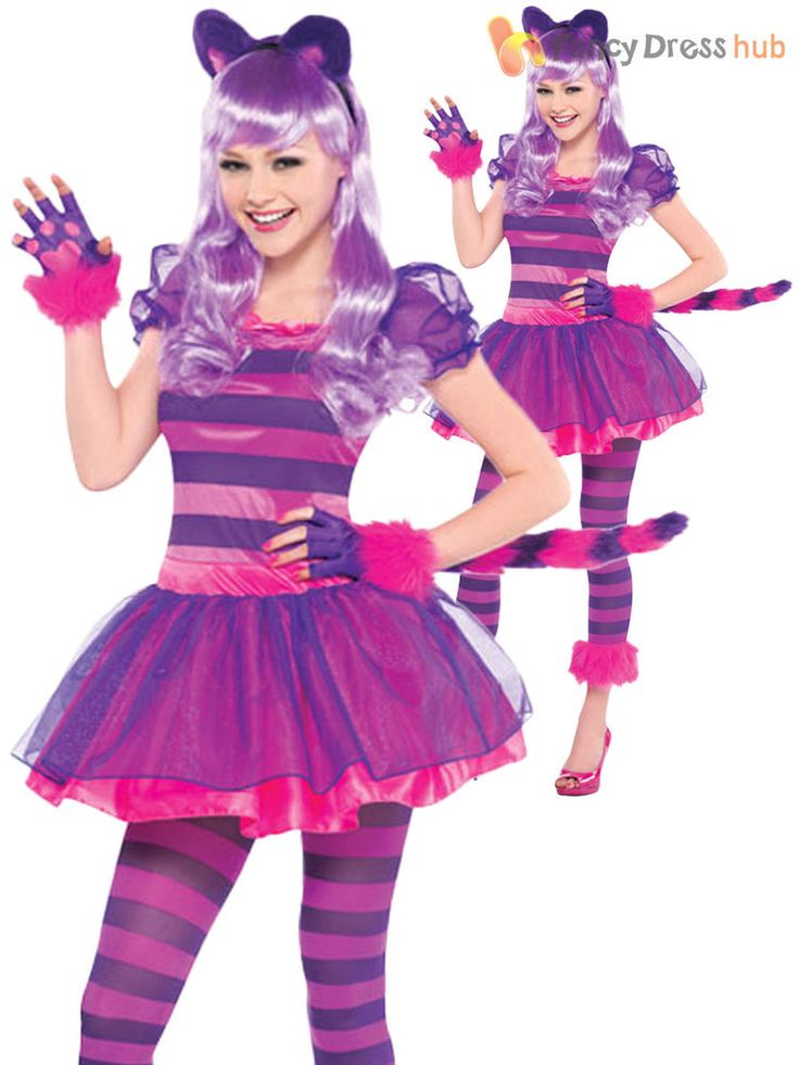 Girls Cheshire Cat Costume Childs Alice Fairytale Fancy Dress Book Week Outfit
