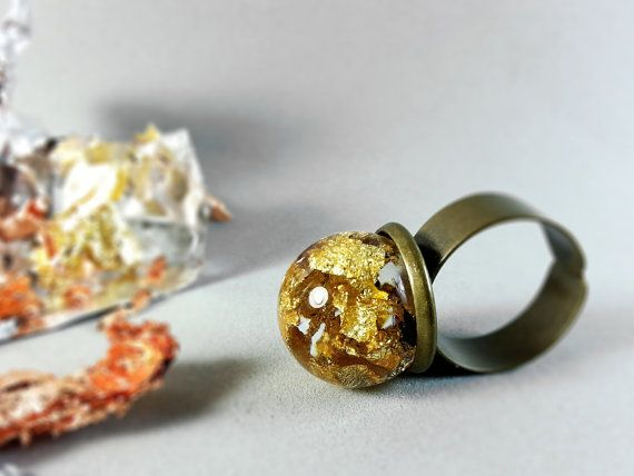 Golden flakes ring Metalic sphere ring Real gold by ByEmilyRay