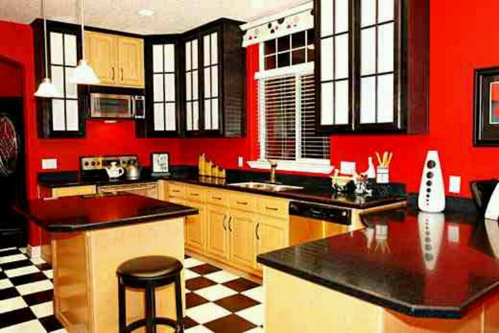 Red Black Yellow Kitchen I Already Have Walls And Cabinets Maybe Change It Up A Bit To Something Simil Let S Make House Home