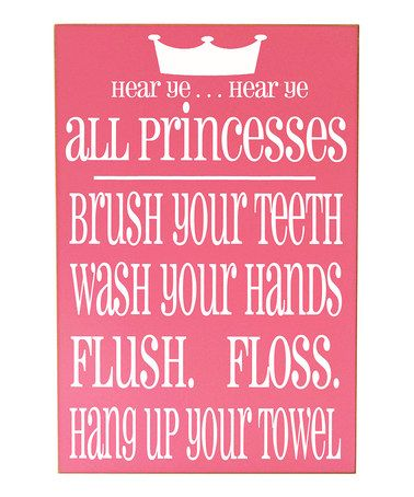 Look what I found on #zulily! Pink & White Princess Bathroom Rules Wall Art #zulilyfinds