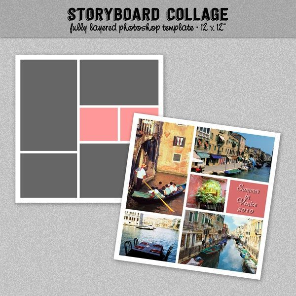 Photo Storyboard Photo Collage Template Photoshop Template 12x12 Blog Board Nr 6 Instant Download Photo Collage Template Collage Template Photo Collage