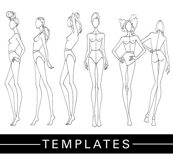 fashion designer drawing template - plantillas de figurines cedidas por la fashion finishing