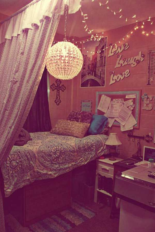 Cute dorm room with with Fairy Lights and beautiful dividing curtain. - 36 Fantastic Ideas To Decorate Dorm Room Feel Like Home
