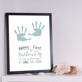 First Mothers Day Blue Hands Personalised Print
