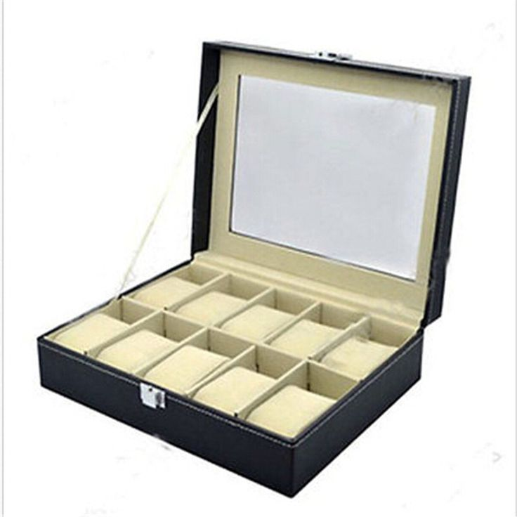 Leather Watch Display Case Jewelry Collection Storage Organizer Box 10 Grid NOR
