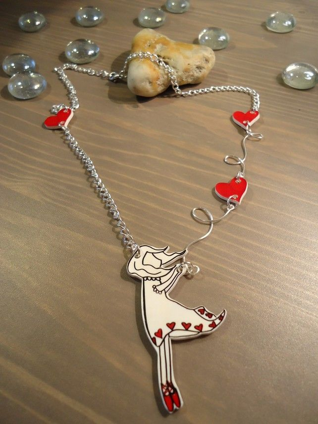 Sweep me off my feet shrink plastic girl with hearts silver necklace £12.50