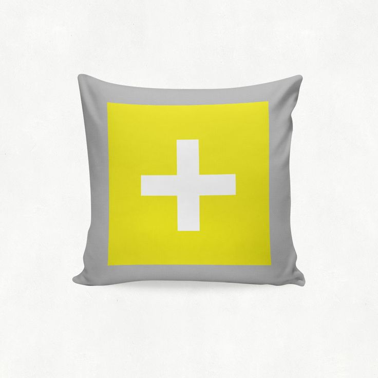 IMIMAH #Scandanavian inspired statement cross outdoor cushion in yellow grey - $38 + pp - from IMIMAH.co. #cushions #pillows #livingroom #decor #homewear #homespo
