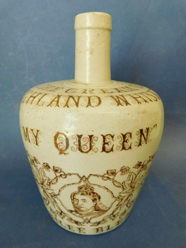 MY QUEEN Highland Whisky Stoneware Whisky Bottle Flagon Jug c1890s  | eBay