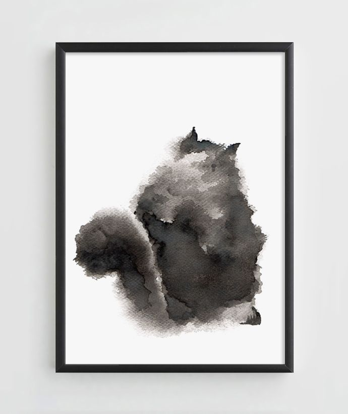 """Watercolor """"Fluffy Cat"""""""