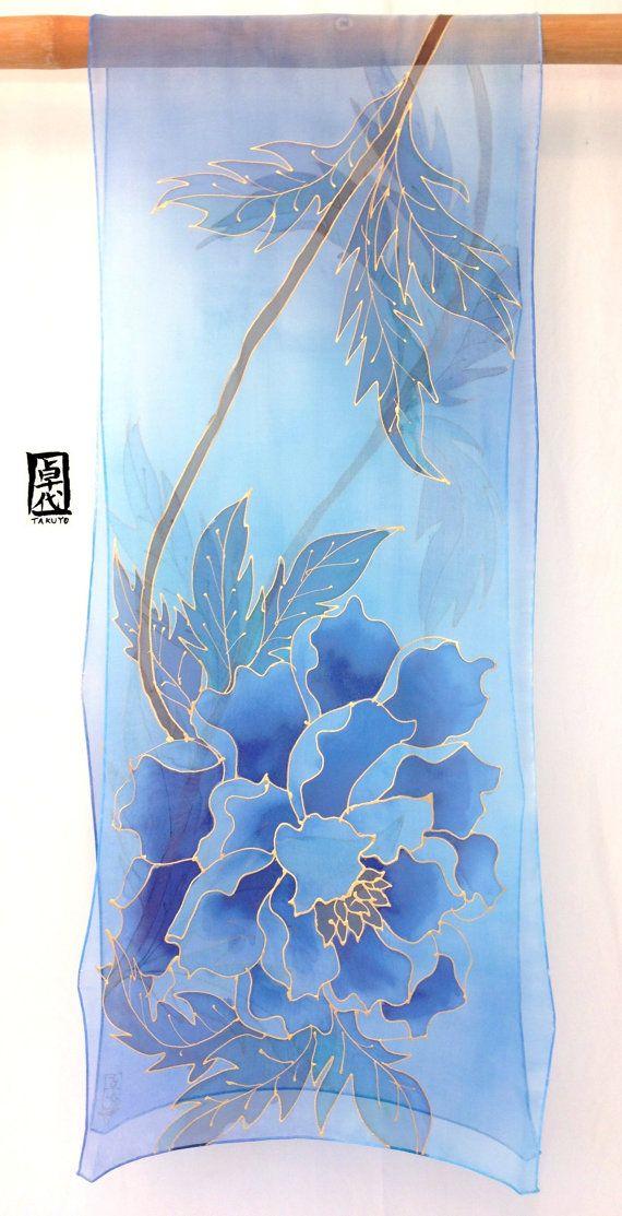 Large Silk Scarf Handpainted hand dyed Blue di SilkScarvesTakuyo
