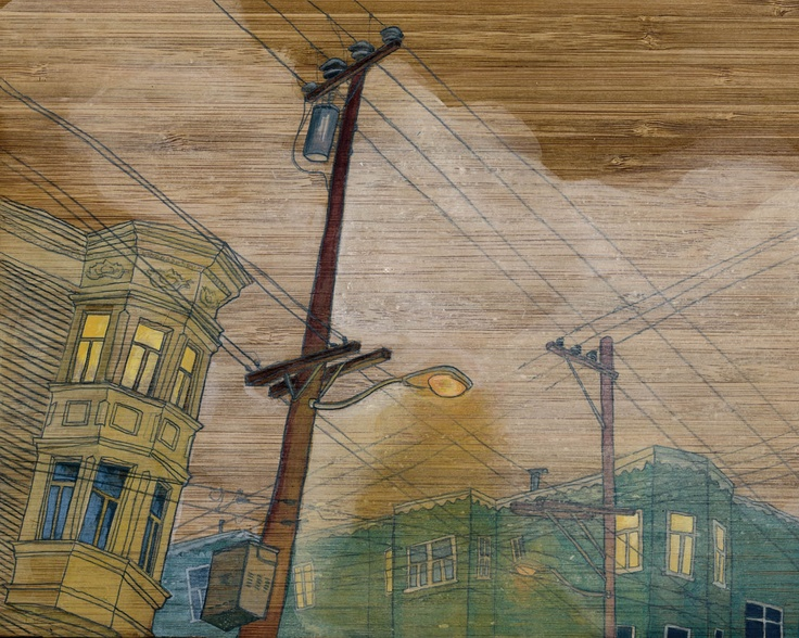 "Chantal de Felice  ""20th St."" // 8x10""  acryla-gouache and graphite on salvaged wood // $215"