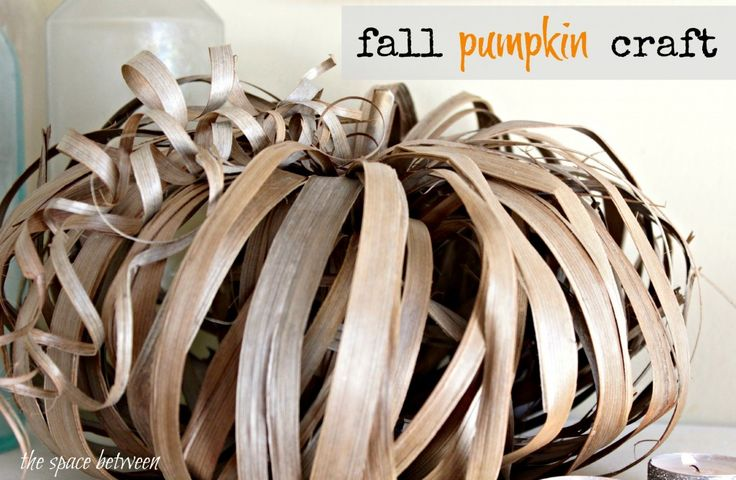 Fall Craft Pumpkin - This one is made from palm fronds.  Other fall yard gatherings will work like iris leaves and some grasses.