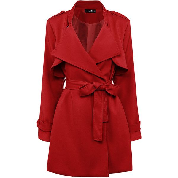 Yoins Red Belted Trench Coat ($53) ❤ liked on Polyvore featuring outerwear, coats, jackets, red, coats & jackets, black, long sleeve coat, trench coat, belted coat and red trench coat