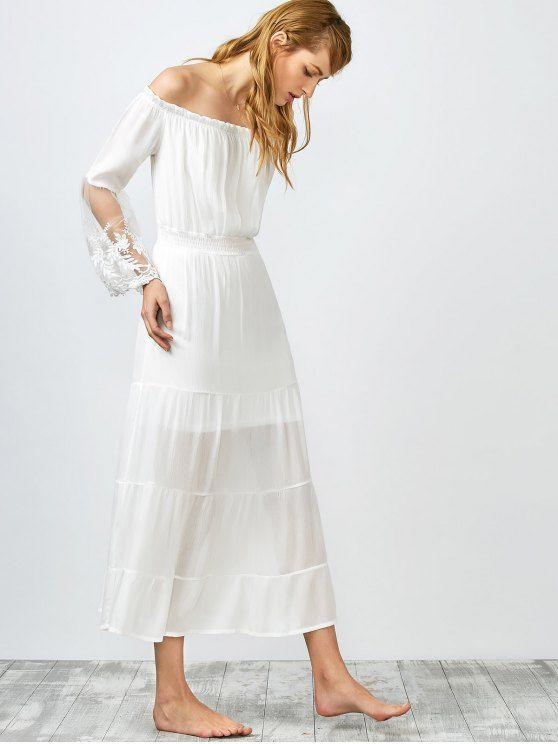 Off Shoulder Shirred Maxi Dress - WHITE XL