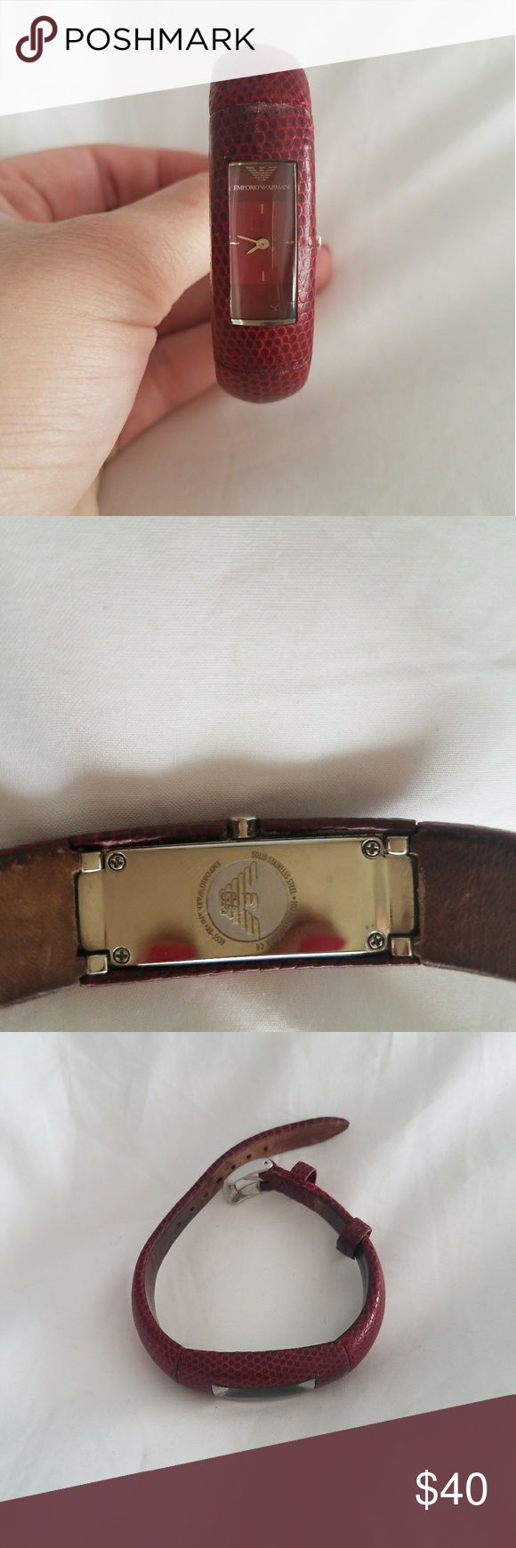 Emporio Armani Red Leather Band Watch Emporio Armani Red Leather Band Watch Emporio Armani Accessories Watches