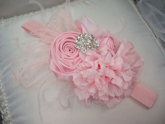 baptism headband! baby toddler christening pink flowers