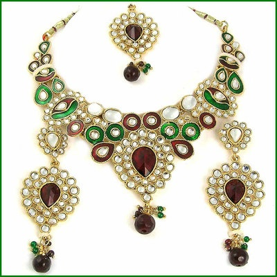 EYECATCHING 22 KT PURE GOLD GP MICRO KUNDAN MEENA JEWELLERY SET