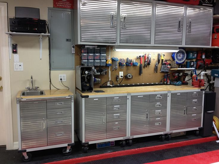 Heavy Duty And Customized Garage With Ultrahd Cabinets Seville Clics In Your Home Pinterest Tool Storage Remodel Ideas