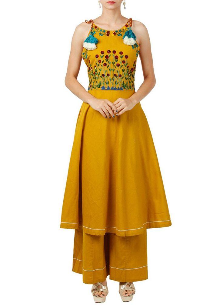 Buy Mustard Yellow Art Silk Palazzo Set, indowestern-sets-and-suits Online Shopping, IWSDSS507