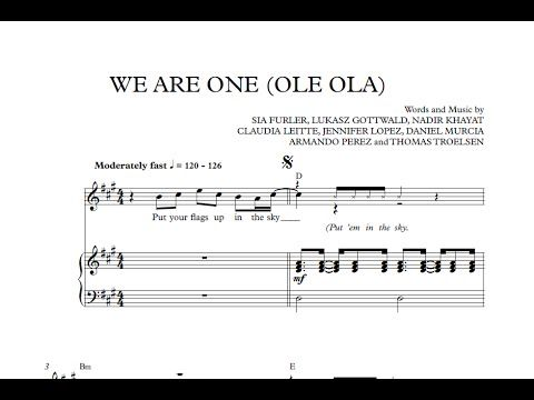 We Are One (Ole Ola) - The Official 2014 FIFA World Cup Song [Sheet Music and Midi Download]  Download link: http://goo.gl/tv4KXR