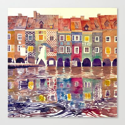 watercolor art on canvas  http://society6.com/product/evening-in-poznan_stretched-canvas#6=28