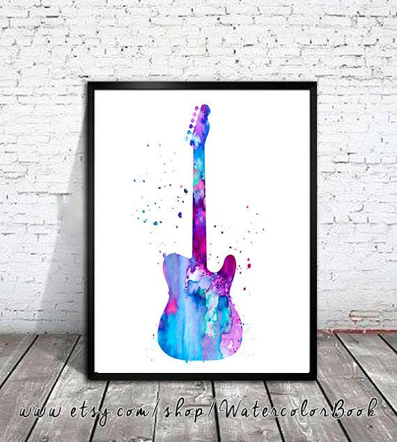 Guitar Watercolor Print Guitar art music art by WatercolorBook