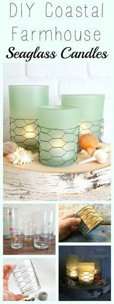 Creating these on-trend coastal farmhouse candles couldn't be easier! Grab some plain glass candle holders from the thrift store, some seaglass spray paint, and some chicken wire, and get your DIY on! So simple to create, yet they look gorgeous- perfect for summer, beach cottage decor on a budget. Love this easy repurpose upcycle craft project and thrift store makeover from #SadieSeasongoods / www.sadieseasongoods.com #DIYHomeDecorDollarStore