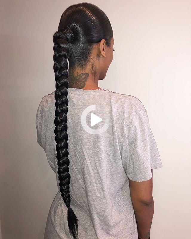 Loading In 2021 Braided Ponytail Hairstyles Natural Hair Styles Weave Ponytail Hairstyles