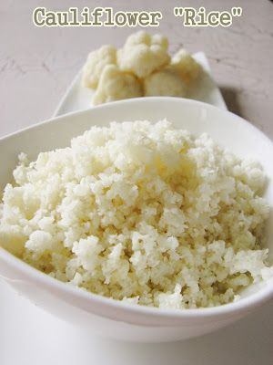 "Cauliflower ""rice"" - a bowl of rice with only 50 calories and all the health benefits of cauliflower."