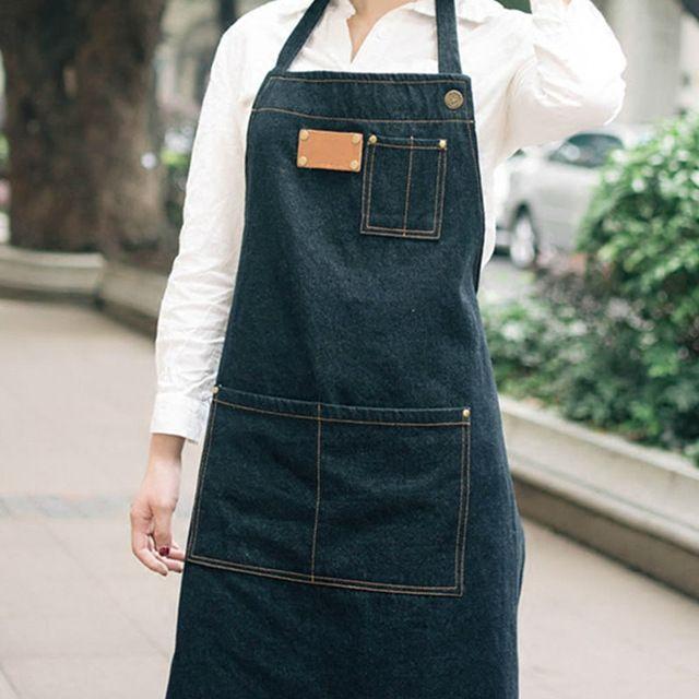 Unisex Black Denim Bib Apron Barber Barista Florist Cafe Bar Chef Bistro Uniforms Painter Tattoo Shop Craft-men Workwear K29
