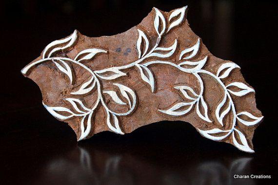Wood Block Stamp, Tjaps, Indian Wood Stamp, Pottery Stamp, Textile Stamp, Printing Stamp - Large Leaves Branch
