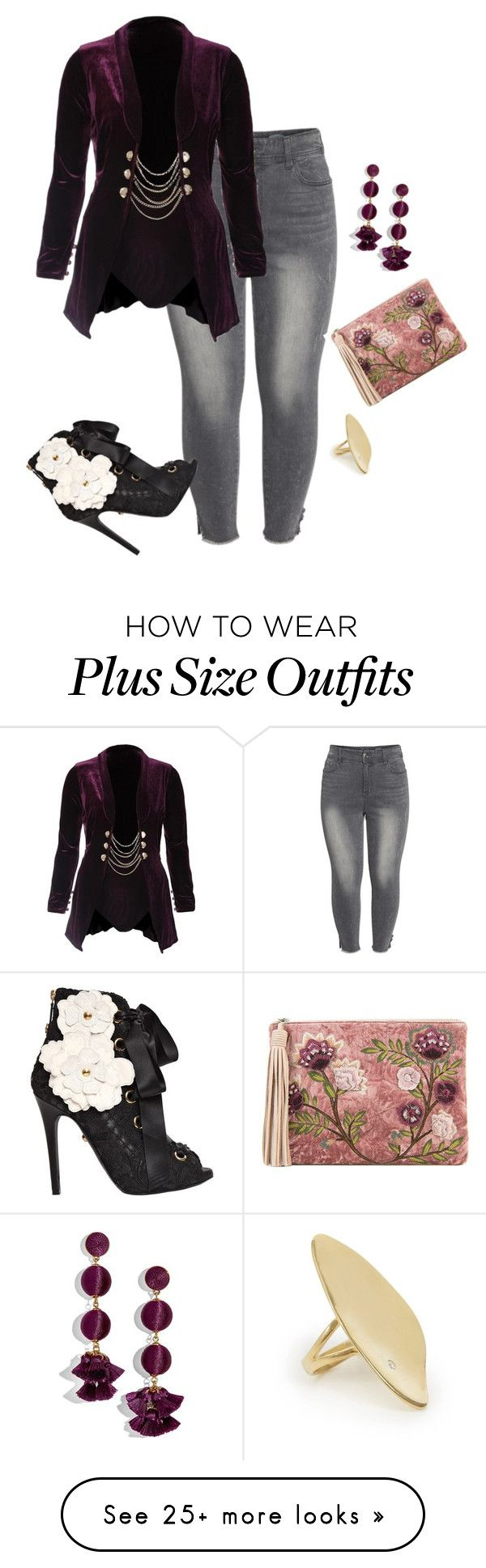 """""""Plus Chic Night Look"""" by xtrak on Polyvore featuring Seven7 Jeans, BaubleBar, Sam Edelman, FAUSTO PUGLISI, Calder and plus size clothing"""