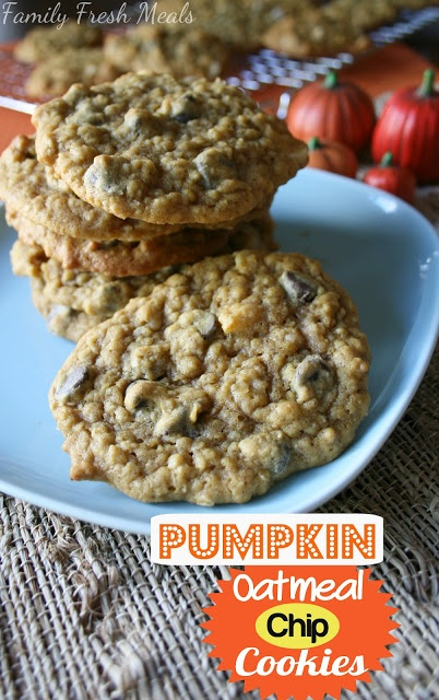 Pumpkin Oatmeal Chocolate Chip Cookies -- yum! Puts us in the mood for fall. :)