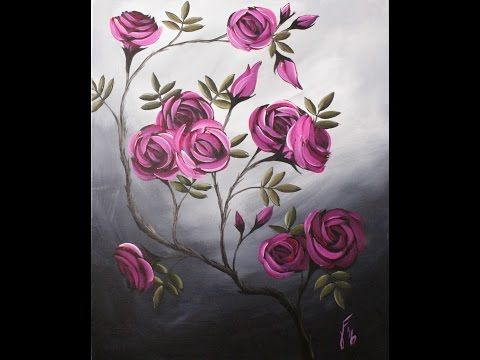 Coming up Roses Step by Step Acrylic Painting on Canvas for Beginners - YouTube