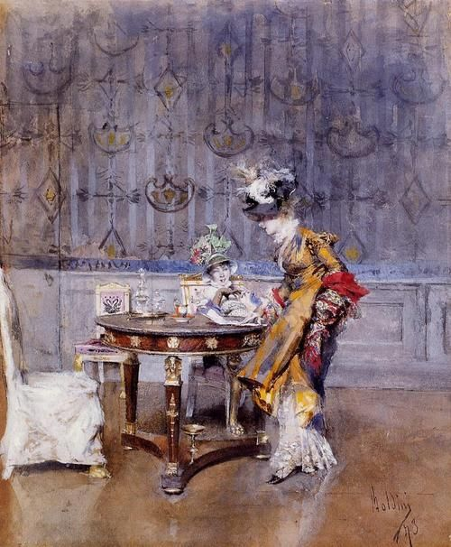The Letter: 1873 by Giovanni Boldini (Private Collection  - Sold at Auction, Sotheby's)
