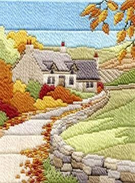 """Cottages Autumn"" Country Landscape Long Stitch Kit by Derwentwater Designs | eBay"