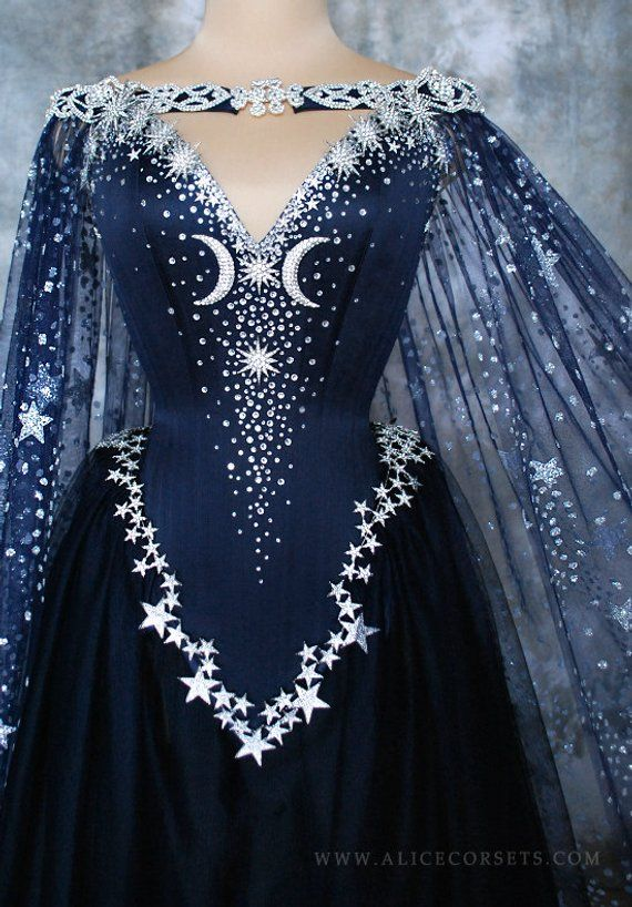 Evening Goddess Elven Corset Gown ~ Gothic Witch Wedding ceremony Robe Fairy Fantasy Bridal Gown Wicca Pagan Couture ~ Ball Masquerade Celestial Cape