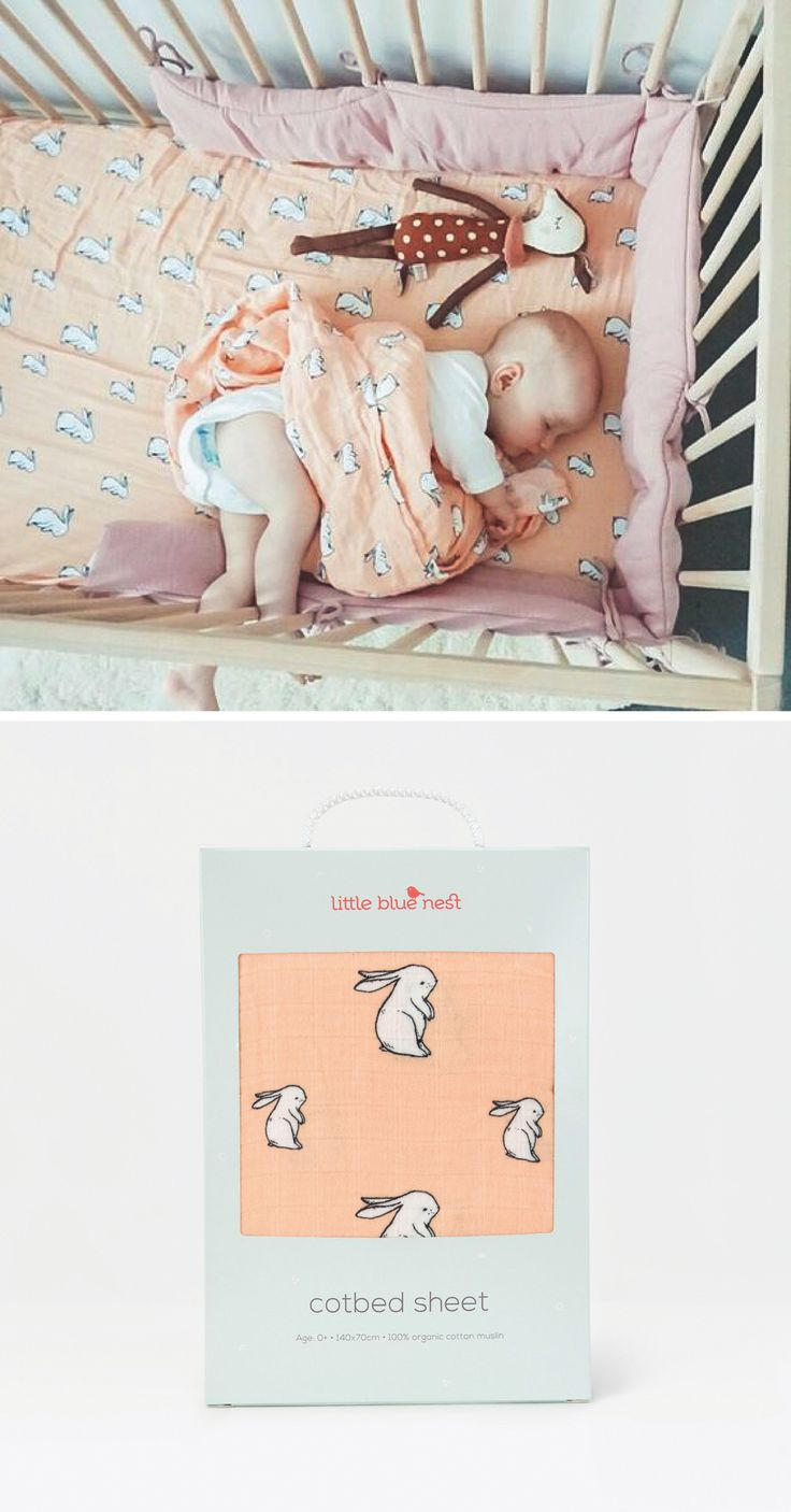 Line your little ones cot bed or crib with this adorable muslin fitted sheet . This cute peach blush 'long ear bunny' cotbed sheet will be sure to give your baby bunny the most blissful of nights sleeps. Like all our baby bedding, it's made from only the softest and purest GOTS certified organic cotton muslin and is elasticated to fit cot beds or crib mattresses from 120x60cm to 140x70cm.
