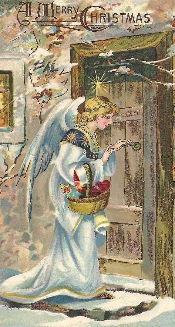 The Christkind, bearing a basket of toys and apples, prepares to enter a house.