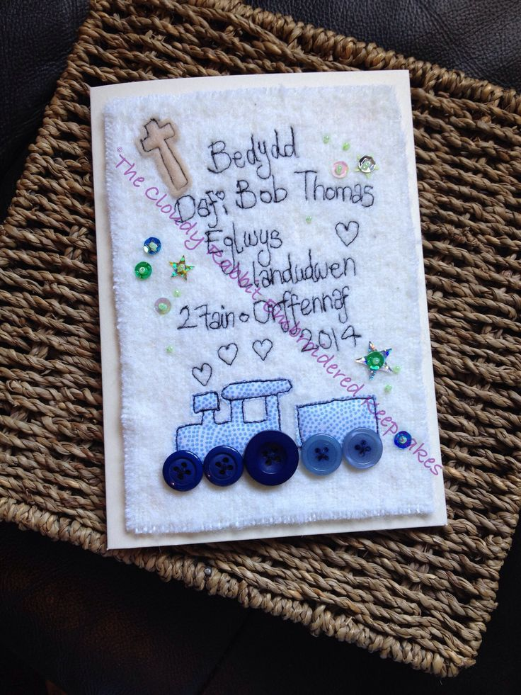 A Cloudy Rabbit embroidered keepsake christening card. Made with Welsh text, its personalised with the recipients name, location and date of the event. Order yours from www.fb.com/somethingalittlebitdiffeRnt #christening #greetingscard #freehand #machine #train #welsh