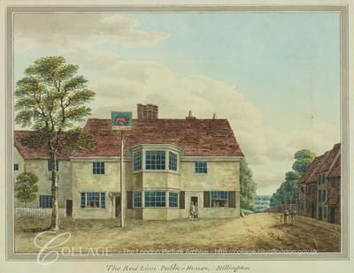 View of the Red Lion Inn on Uxbridge Road in Hillingdon, Middlesex; Hillingdon is now in the London borough of Hillingdon.    c1820