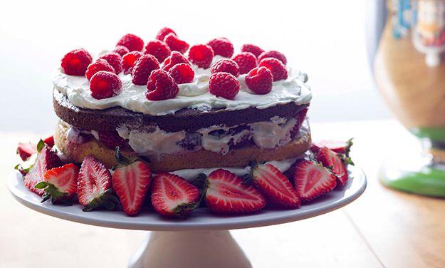 Chocolate layer cake with fruit #recipe #PledgeToBake