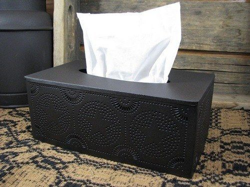 Complete your country bathroom with this simple,rustic Star Rectangle Tissue box holder. See other bathroom decor at Primitive Star Quilt Shop. https://www.primitivestarquiltshop.com/collections/farmhouse-primitives/products/star-rectangle-tissue-box-holder